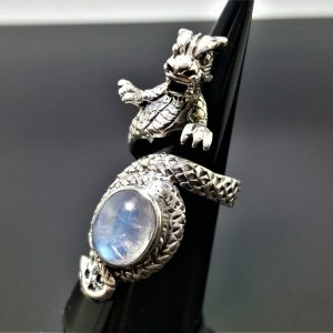 925 Sterling Silver Chinese Dragon Natural Moonstone Gemstone Exclusive design Anceint Sacred Symbol Good Luck Talisman Amulet