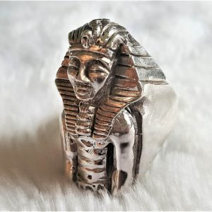 925 STERLING SILVER PHARAOH Tutankhamun Egyptian Sphinx Ring Ancient Egypt King Son of God Talisman Amulet Sacred Symbol Handmade