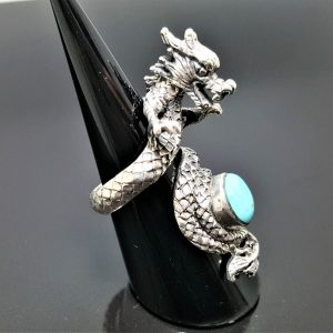 925 Sterling Silver Chinese Dragon Turquoise Gemstone Exclusive design Anceint Sacred Symbol Good Luck Talisman Amulet