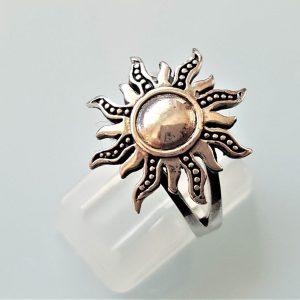 Sun Ring STERLING SILVER 925 Celestial Divine Talisman Protective Amulet Sacred Symbol Divinity Sun God