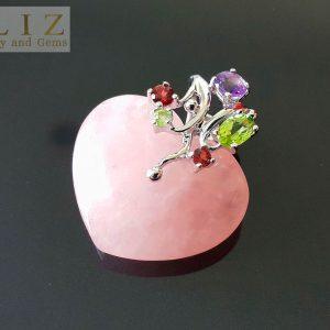 925 Sterling Silver Natural Rose Quartz Heart/Love Pendant Genuine Precious Peridot Garnet Amethyst Exclusive Gift Talisman Amulet