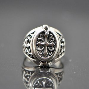 Knight Templar Cross 925 Sterling Silver Locket Ring Cross Poison Hidden Compartment Talisman Silver gift