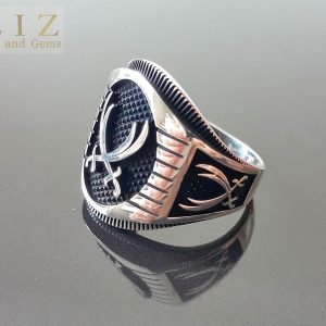 Eliz Solid Sterling Silver 925 Ring Men's Two Swords Engraving Arabic Turkish Oxidized Silver Exclusive Design Talisman Amulet