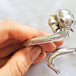 Elephant Bangle STERLING SILVER 925 Bracelet Adjustable Size 30.5 grams