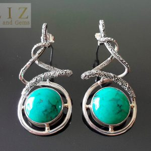 Sterling Silver 925 Natural Turquoise Earrings Stud Exclusive Gift Unique Design Genuine Gemstone Custom Made
