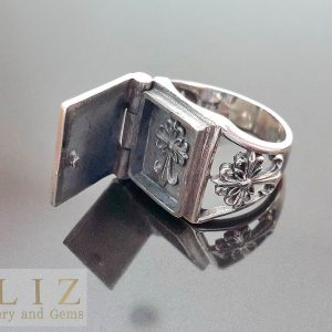 Eliz 925 Sterling Silver Holy Book Gothic Cross Poison Locket Ring Hidden Secret Compartment  Amulet Exclusive Design Ring 15 grams