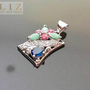 Eliz Sterling Silver 925 Pendant Genuine Precious UNTREATEAD Sapphire Ruby Emerald Exclusive Gift Natural Gemstones