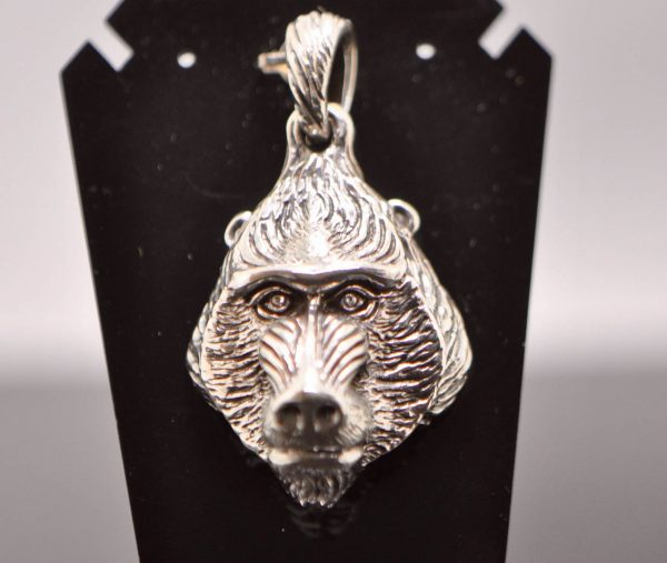 Baboon Pendant 925 Sterling Silver Tree of Life on the Reverse Side Monkey Animal