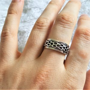 Eliz 925 Sterling Silver Spinner Band Ring Honeycomb Anti Stress Fidget Meditation Kinetic