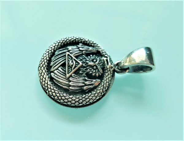 STERLING SILVER 925 OWL Pendant Sacred Ancient Symbol Skull and bones All Seeing Eye Pyramid Snake Eating Tail Talisman Amulet