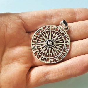 Eliz STERLING SILVER 925 Compass Horoscope Wind Rose Sacred Symbols Astrology Symbol North South East West Talisman Amulet