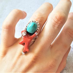 Sterling Silver 925 Natural Turquoise & Italian Red Coral Ring Handmade Unique Design Excluisve