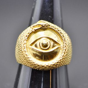 All Seeing Eye STERLING SILVER 925 Ouroboros Ring Snake Eating Tale Talisman Amulet Ancient Symbol 22K Gold Plated