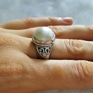 Eliz Sterling Silver 925 Natural Ocean Mobe Pearl Ring Elegant Classic Exclusive Gift Talisman