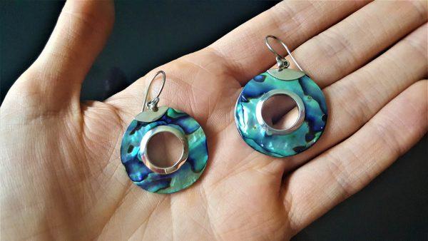 Eliz STERLING SILVER 925 Abalone Haliotis Mother of Pearl Round Shape Earrings Beauty Handmade Opalescent
