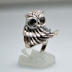 Owl Ring 925 Sterling Silver Preening Wise Owl Bird Symbol of Wisdom CZ Eyes Ring