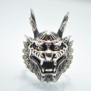 925 Sterling Silver  Long Horn Dragon Ring