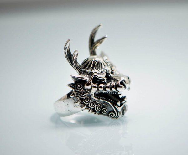 925 Sterling Silver  Long Horn Dragon Ring