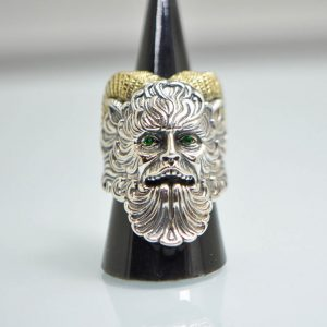 925 Sterling Silver Faun Satyr Silenos Goatman Ring Eliz