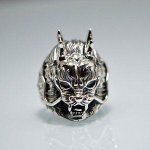 925 Sterling Silver Draco Dragon Mask Ring Eliz