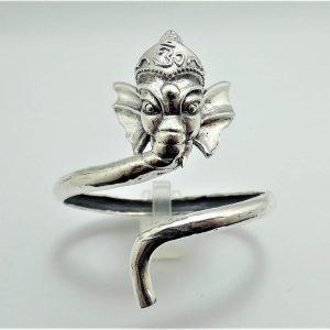 925 Sterling Silver Elephant Bracelet Great Ganesha Blessing Lord of Success Wealth Wisdom Ohm Aum Talisman Amulet Good Luck Ohm Symbol