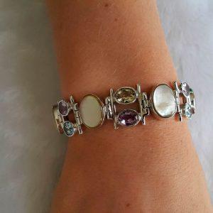Sterling Silver 925 Bracelet Mother of Pearl Genuine Blue Topaz Amethyst Citrine Adjustable 7.5 inches