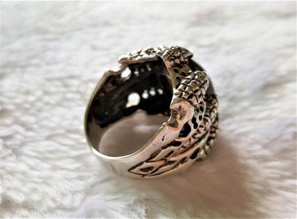 Sterling Silver 925 CLAW Dragons Eye Skull Ring Genuine Labradorite Natural GemStone Biker Rock Punk Goth