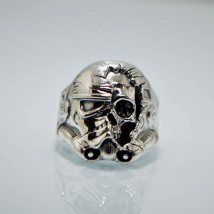 925 Sterling Silve Storm Trooper Skull Ring Eliz