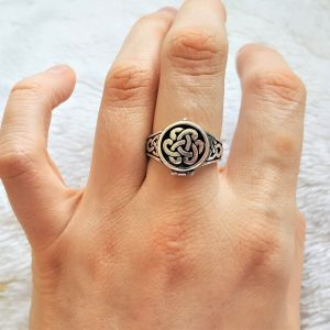 Eliz 925 Sterling Silver Celtic Knot Ring Locket VIKING Infinity Knot Sacred Symbols Talisman Protective Amulet Occult Secret Compartment