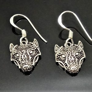 STERLING SILVER 925 Fenrir Wolf Earrings Viking Talisman Protective Celtic Amulet Sacred Symbol