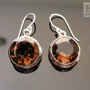 Sterling Silver Earrings Natural Smoky Quartz Round shape