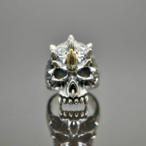 925 Sterling Silver  Brass Center Horn Tri Hawk Horned  Half Jaw Skull Ring Eliz 18g