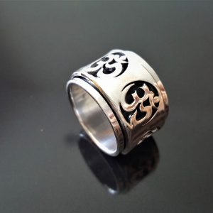 Om Spinner 925 Sterling Silver Ohm AUM Unisex Ring Spinner Harmony Anti Stress Fidget Meditation Kinetic Heavy grams
