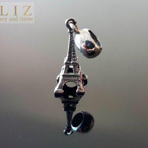 Eliz Gift 925 Sterling SILVER 3D Paris France Eiffel Tower Charm/Pendant Talsiman Travel