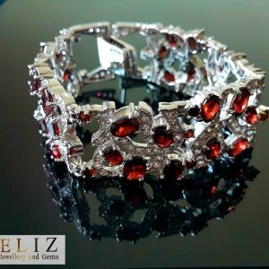 925 Sterling Silver Genuine Garnet & Cubic Zirconia EXCLUSIVE Bracelet 7.5 inches