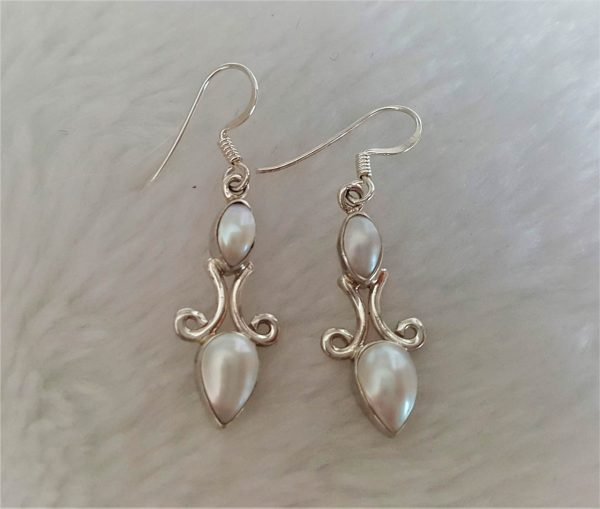Eliz 925 Sterling Silver Natural White Pearl Elegant Vintage Long Earrings Handmade