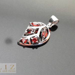 Eliz Sterling Silver Pendant Genuine GARNET Gemstone Leaf Shape Talisman Exclusive Gift