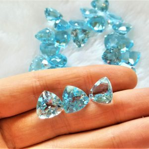 2 pcs LOT Loose Blue Topaz Genuine Gemstones TRILLION 13x13 mm Natural Blue Trillion Shape Cut Stone Faceted Precious Sky Blue Topaz