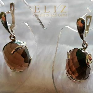 Eliz Sterling Silver 925 Earrings HUGE Genuine Smoky Quartz Natural Faceted Gemstone 15.5 grams