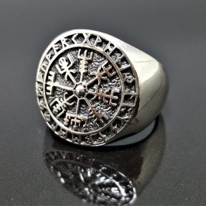 925 Sterling Silver Ring Vegvisir Icelandic Magical Stave Runic Compass Pagan Sacred Island Symbols Talisman Amulet Norse Viking ELIZ