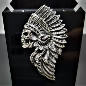 American Indian Skull STERLING SILVER 925 Pendant Native American Tribal Chief Biker Rocker Fathers Day Gift for him