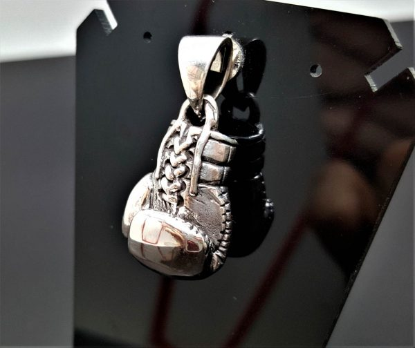925 STERLING SILVER Boxing Glove Pendant Charm Champion Sport Exclusive Gift Heavy Duty Solid  ELIZ