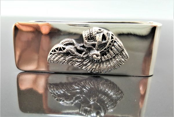 STERLING SILVER 925 Money Clip American Indian Skull Native American Tribal Chief Biker Rocker Fathers Day Gift for him Heavy 36 grams
