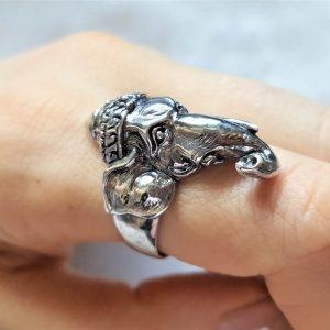 Eliz 925 Sterling Silver Elephant Ganesha Lord Ganesh Ring Good Luck Talisman Amulet
