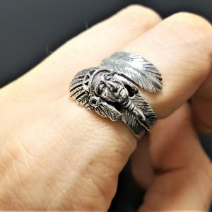 925 Sterling Silver American Indian Chief Ring Native American Tribal Chief Feather Handmade Exclusive Design Wrap around Finger Eliz