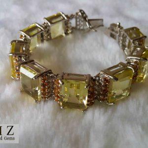 Sterling Silver LEMON QUARTZ & CITRINE Bracelet Unique 7 inches