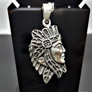 925 Sterling Silver American Red Indian Tribal Chief Profile Pendant Native American Handmade Talisman Amulet Eliz