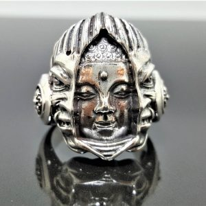 STERLING SILVER 925 Unleash your inner  BUDDHA Ring Sacred Symbol Buddhism Great Master Guru Demons God Exclusive Design