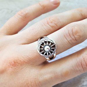 Eliz Sterling Silver .925 Sun Moon Ring Celestial Divine Talisman Protective Amulet Sacred Symbol Divinity Sun God Moon Goddes