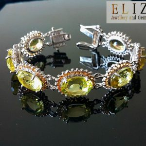 Sterling Silver LEMON QUARTZ & CITRINE Bracelet Unique 7.5 inches